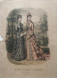 1878 Antigua lámina moda 26,4×36,8 cm