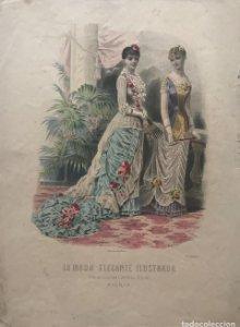 Antigua lámina moda 26,6×37,4cm