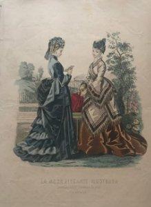 1874 Antigua lámina moda 26×36,8cm