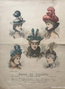 Antigua lámina moda. Sombreros época 25×32,7cm