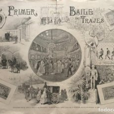 Coleccionismo: 1889 LÁMINA DEL SUPLEMENTO ARTISTICO. PRIMER BAILE DE TRAJES 59,4×42CM. Lote 155607046
