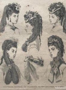 1869 Antigua lámina moda 27,3×38,4cm