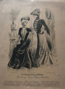 Antigua lámina moda 27,8×38,4cm