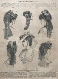 1869 Antigua lámina moda sobre cartulina blanca 27,7×37,4cm