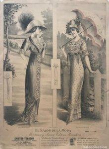 1869 Antigua lámina moda sobre cartulina blanca 27,4×37,8cm