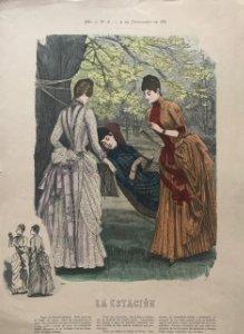 1887 Antigua lámina moda 26,9×38,4cm