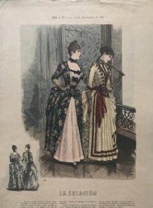 1887 Antigua lámina moda 26,7×38,4cm