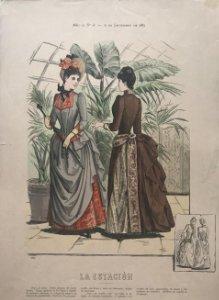 1887 Antigua lámina moda 27×38,2cm