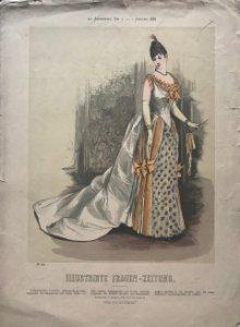 1888 Antigua lámina moda 28,8×40,3cm