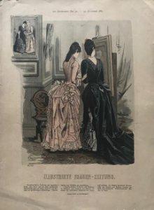1887 Antigua lámina moda 28,9×39,8cm