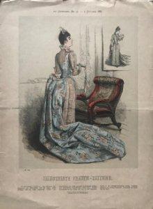 1887 Antigua lámina moda 28,8×40,2cm