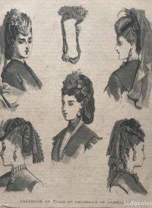 1869 Antigua lámina moda 28,2×38,4cm