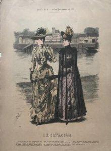 1888 Antigua lámina moda 27,1×38,5cm