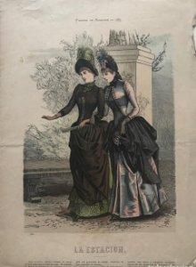 1885 Antigua lámina moda 26,2×36cm