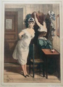 1878 Antigua lámina moda 21,3×29cm
