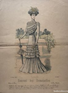 1878 Antigua lámina moda 25×32,3cm