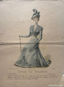 1878 Antigua lámina moda 24,5×32,8cm