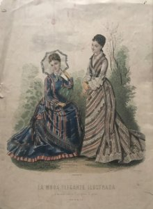 1876 Antigua lámina moda 26,4×36,5cm