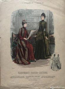 1887 Antigua lámina moda 28,8×38,8cm