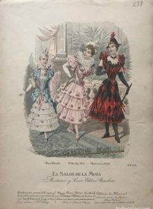 1887 Antigua lámina moda 27,4×37,8cm