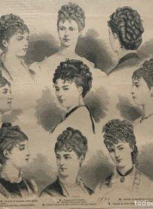 1879 Antigua lámina moda 28×38,3cm