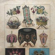 Coleccionismo: ANTIGUA LÁMINA ORNAMENTOS, LA MODA ELEGANTE ILUSTRADA. Lote 155691326