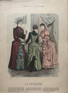 1889 Antigua lámina moda 26,7×38,5cm