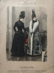 1888 Antigua lámina moda 26,8×38,6cm