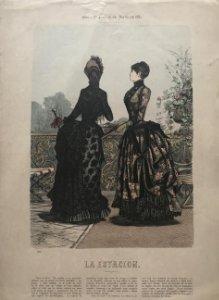 1884 Antigua lámina moda 26,8×38,4cm