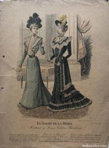 Antigua lámina moda 27,3×37,7cm