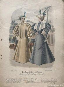 Antigua lámina moda 27,8×38,1cm