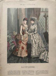 1884 Antigua lámina moda. Vestido de novia 27,1×38,6cm