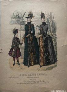 1888 Antigua lámina moda 26,5×36,6cm
