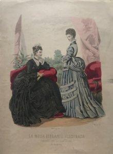 1888 Antigua lámina moda 26,1×36,8cm