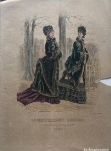 1888 Antigua lámina moda 26,1×36,2cm