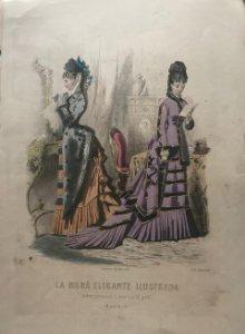 1888 Antigua lámina moda 25,7×36,3cm