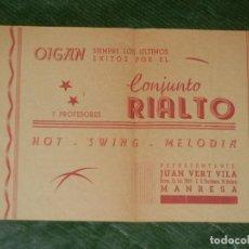 Coleccionismo: FOLLETO CONJUNTO RIALTO - MANRESA - AÑOS 1950. Lote 155701206