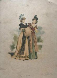 Antigua lámina moda 20,3×29,1cm