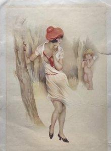 Antigua lámina moda 22,6×31,8cm angel, cupido