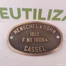 Coleccionismo: PLACA FERROCARRIL HENSCHEL & SOHN F N° 10084. CASSEL.1910.. Lote 155964941