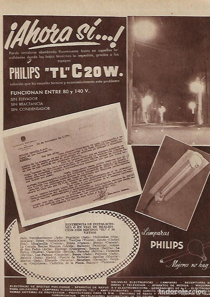AÑO 1955 RECORTE PRENSA PUBLICIDAD LAMPARAS PHILIPS TL C 20W ILUMINACION (Coleccionismo - Laminas, Programas y Otros Documentos)