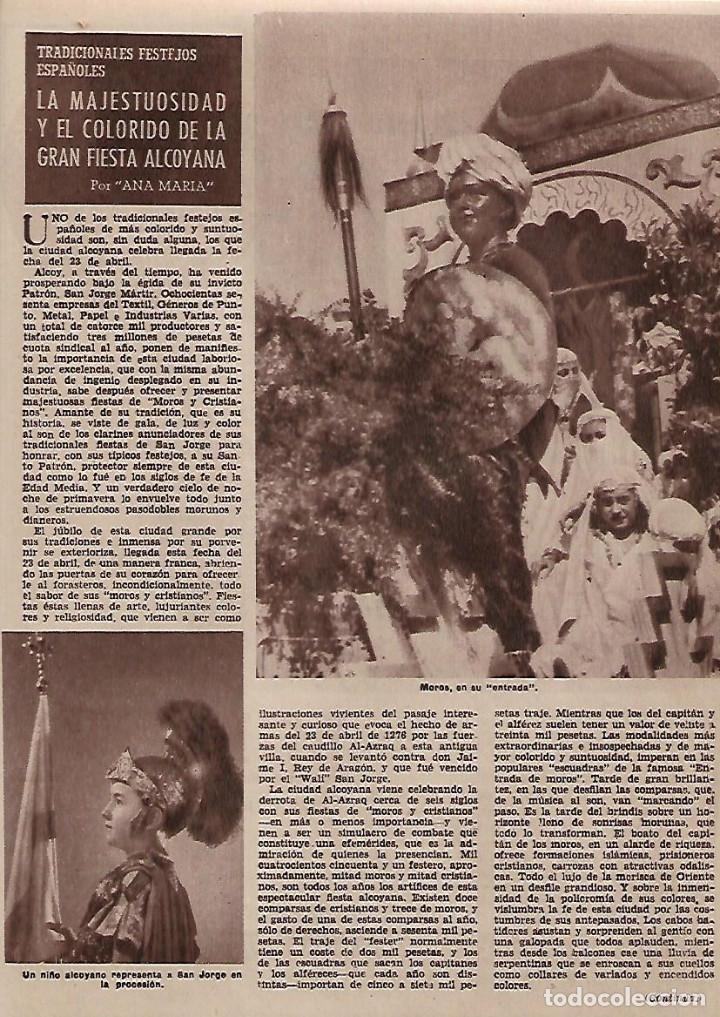 AÑO 1955 RECORTE PRENSA FIESTAS DE MOROS Y CRISTIANOS EN ALCOY (Coleccionismo - Laminas, Programas y Otros Documentos)
