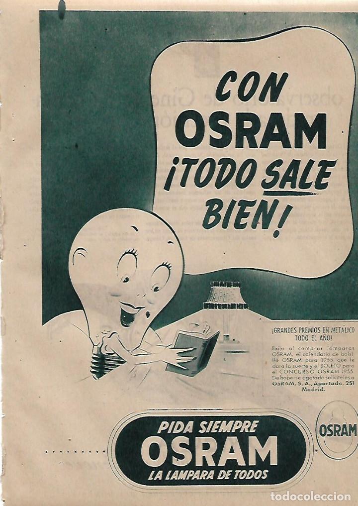 AÑO 1955 RECORTE PRENSA PUBLICIDAD LAMPARA OSRAM BOMBILLA ILUMINACION (Coleccionismo - Laminas, Programas y Otros Documentos)
