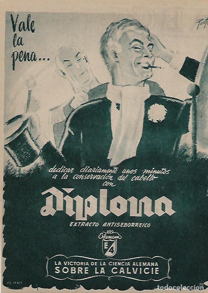 AÑO 1955 RECORTE PRENSA PUBLICIDAD DIPLOMA EXTRACTO ANTISEBORREICO CALVICIE (Coleccionismo - Laminas, Programas y Otros Documentos)