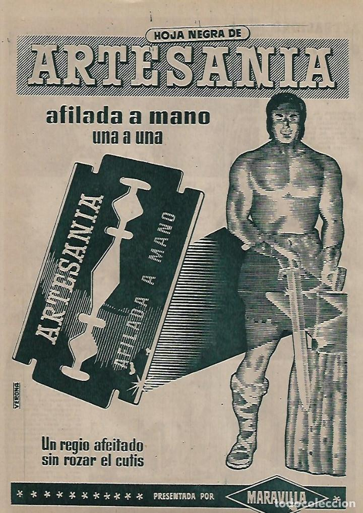 AÑO 1955 RECORTE PRENSA PUBLICIAD HOJA DE AFEITAR ARTESANIA AFILADA A MANO MARAVILLA (Coleccionismo - Laminas, Programas y Otros Documentos)