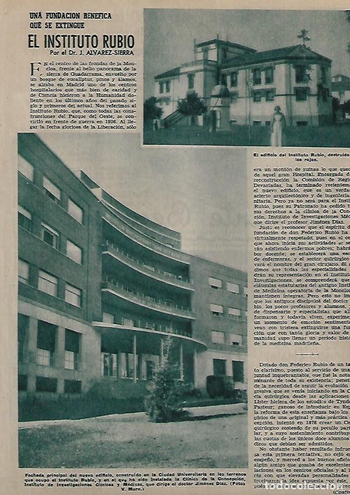 AÑO 1955 RECORTE PRENSA EL INSTITUTO RUBIO FUNDACION BENEFICA (Coleccionismo - Laminas, Programas y Otros Documentos)