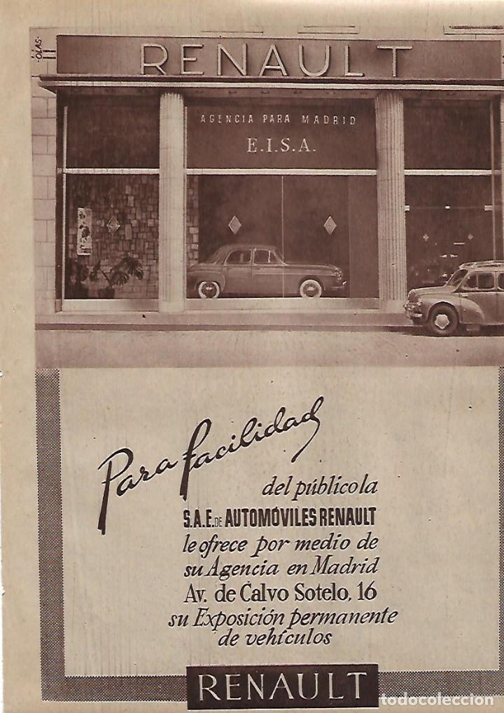 AÑO 1955 RECORTE PRENSA PUBLICIDAD AUTOMOVILES RENAULT AGENCIA PARA MADRID EISA (Coleccionismo - Laminas, Programas y Otros Documentos)