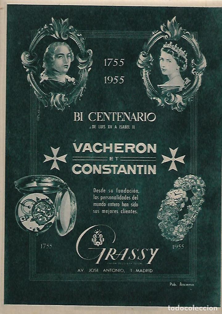 AÑO 1955 RECORTE PRENSA PUBLICIDAD RELOJ VACHERON ET CONSTANTIN GRASSY (Coleccionismo - Laminas, Programas y Otros Documentos)