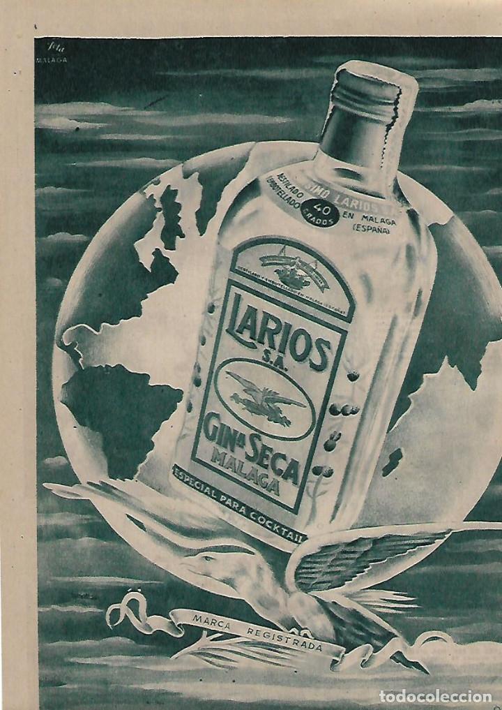AÑO 1955 RECORTE PRENSA PUBLICIDAD BEBIDAS GINEBRA SECA LARIOS MALAGA GIN (Coleccionismo - Laminas, Programas y Otros Documentos)