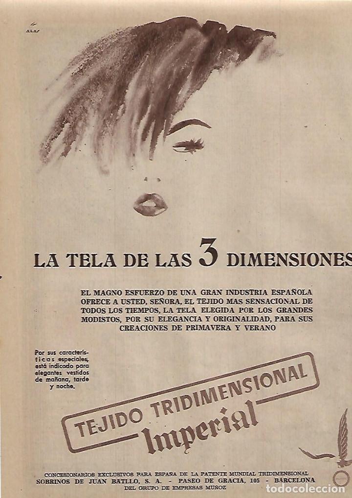 AÑO 1955 RECORTE PRENSA PUBLICIDAD TEJIDO TRIDIMENSIONAL IMPERIAL MODA (Coleccionismo - Laminas, Programas y Otros Documentos)